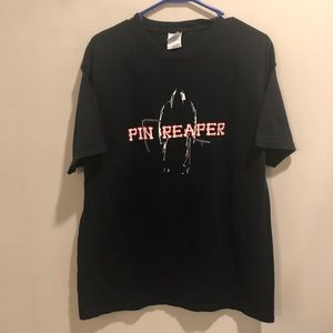 Bowling parody t shirt pin reaper black red scary
